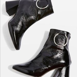 Topshop Mia Patent Leather Ankle Boots